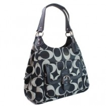 Coach Campbell Signature Hobo F24742 - Black/White