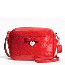 Coach Embossed Liquid Gloss Mini Camera Bag F49430 - Vermillion