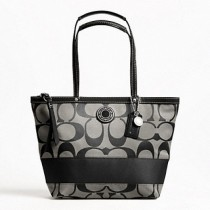 Coach Signature Stripe Tote 19046 - Black (Delivery: 2 - 4 working days)