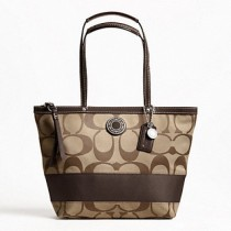 Coach Signature Stripe Tote 19046 - Khaki/Mahogany (Delivery: 2 - 4 working days)