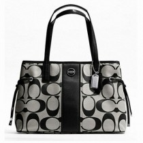 Coach Signature Stripe Carryall F21949 - Black/White (Delivery: 2 - 4 working days)