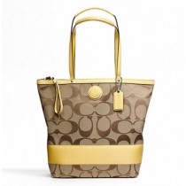 Coach Signature Stripe Large Tote F24301 - Khaki/Yellow (Delivery: 2 - 4 working days)
