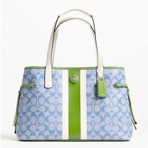 Coach Signature Stripe PVC Stripe Carryall F22908 - Light Blue/Green (Delivery: 2 - 4 working days)
