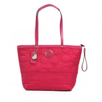 Coach Signature Stripe Stitched Nylon Pocket Tote F17668 - Promegranate (Delivery: 2 - 4 working days)