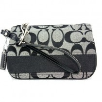 Coach Signature Stripe Small Wristlet 47790 - Black (Delivery: 2 - 4 working days)
