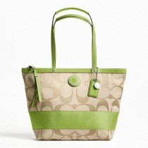 Coach Signature Stripe Tote 19046 - Khaki/Apple (Delivery: 2 - 4 working days)