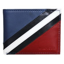 Tommy Hilfiger Men's Red/Navy/White Flag Leather Passcase Billfold Valet Wallet - Multicolour