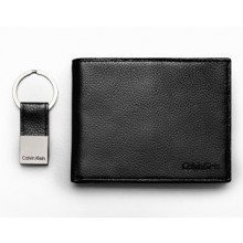 Calvin Klein Men's Bifold Textured Leather Wallet with Key Fob - Black (Delivery: 2 - 4 working days)