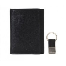 Calvin Klein Men's Tri-Fold Leather Wallet with Key Fob - Black (Delivery: 2 - 4 working days)