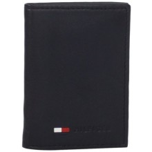 Tommy Hilfiger Men's Polished Lamb Trifold Credit Card Organizer - Black